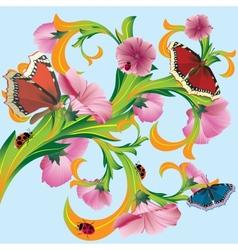 Tree with butterflies vector