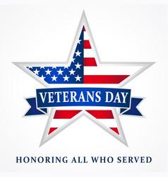 veterans day usa star ribbon white vector image