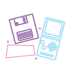 Video game handle with floppy disk nineties style vector