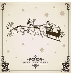 Vintage Christmas card Santa Claus sleigh reindeer vector image