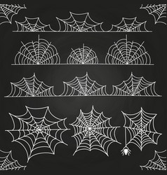 White spider web on chalkboard backdrop halloween vector