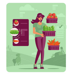 woman farmer with basket vegetables and fruits vector image