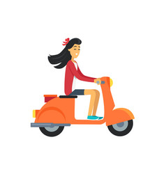 woman on scooter icon girl vector image