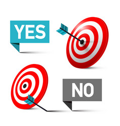 yes and no symbols with darts in the centre of vector image