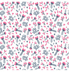 cute seamless floral pattern in doodle style on vector image vector image