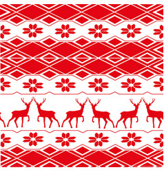 deer pattern new year ornament merry vector image