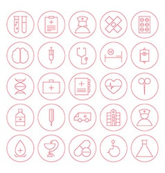 Line Circle Medical Health Care Icons Set vector image