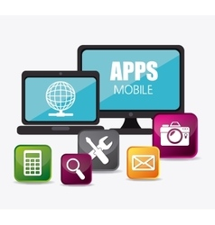 Mobile applications and technology icons design vector image vector image