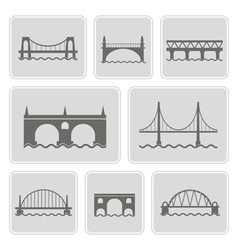 monochrome icons with different bridges vector image