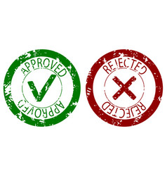 approved and rejected stamp seal color vector image