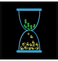 Blue hourglass with dollar and euro money signs vector image vector image