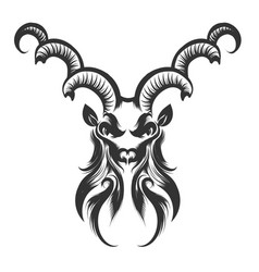 capricorn head engraving vector image