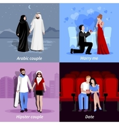 Couples 2x2 Flat Icons Set vector image