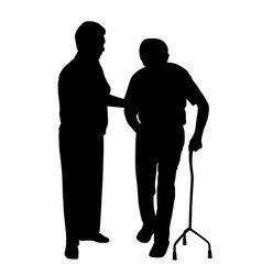 disabled man walking with woman vector image vector image