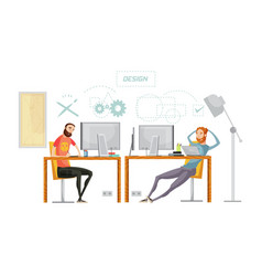 game design office composition vector image vector image