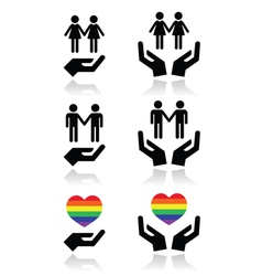 Gay and lesbian couples rainbow flag with hands vector image vector image