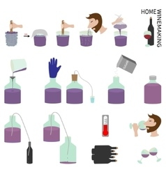 Home winemaking Set of elements vector image