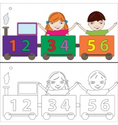 numbers train vector image vector image