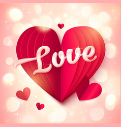 Red folded paper heart with pink 3d Love sign at vector image vector image