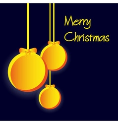 three yellow paper christmas decoration baubles vector image vector image
