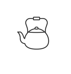 traditional vintage kettle outline icon vector image