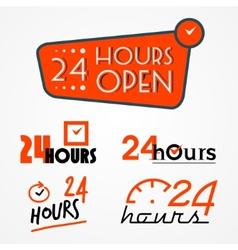 Twenty four hours labels set vector image vector image