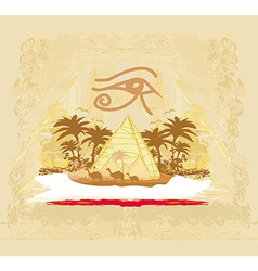 vintage background with pyramids giza vector image
