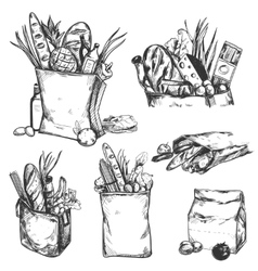 Hand Drawn Health Product Icon Set vector image vector image