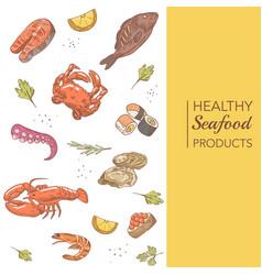 hand drawn seafood menu design with fish crab vector image