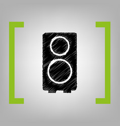 speaker sign black scribble vector image vector image