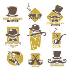 gentlemen club logo labels set on white colorful vector image