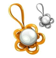 Gold and silver pendant with pearl vector