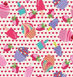 ice-creams and cartoon cake vector image