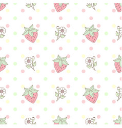 pattern strawberry flower pastel vector image