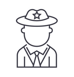 policeman line icon sign on vector image vector image