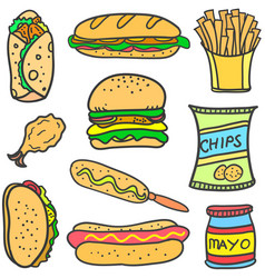 set of food various doodles vector image vector image