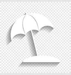 umbrella and sun lounger sign white icon vector image vector image