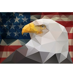 Abstract polygonal triangle American bald eagle on vector