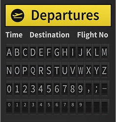 Airport timetable alphabet vector image