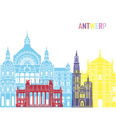 Antwerp skyline pop vector