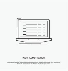 Api app coding developer laptop icon line gray vector