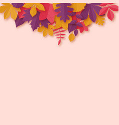 autumn leaves paper art style background origami vector image