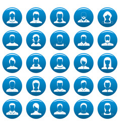avatar user icons set blue simple style vector image