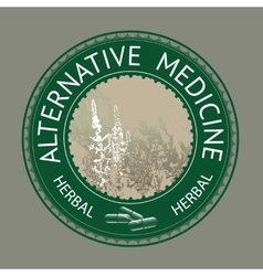 Badge template with text Alternative medicine vector