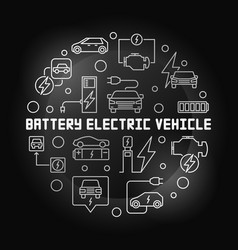 battery electric vehicle round modern line vector image