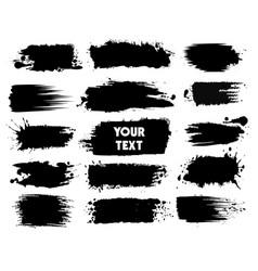 black ink splashes with drops blots set vector image