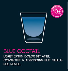 Blue cocktail card template with price and flat vector