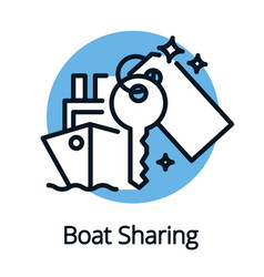 boat sharing concept outline style sign isolate vector image