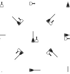 broom and dustpan pattern seamless black vector image