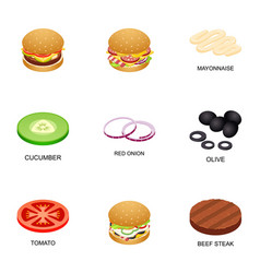 Burger ingredient icons set cartoon style vector